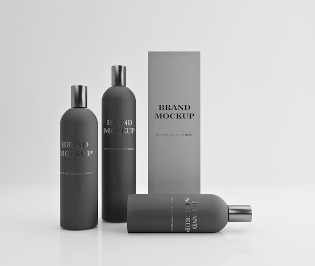 Design mockup shampoo e balsamo con colore grigio