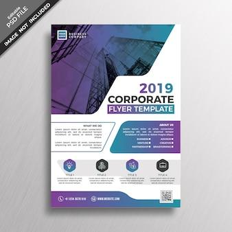 Design modello flyer aziendale di stile moderno di colore sfumato