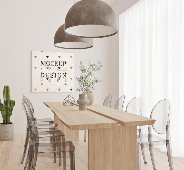 Design moderno della sala da pranzo con cornice mockup