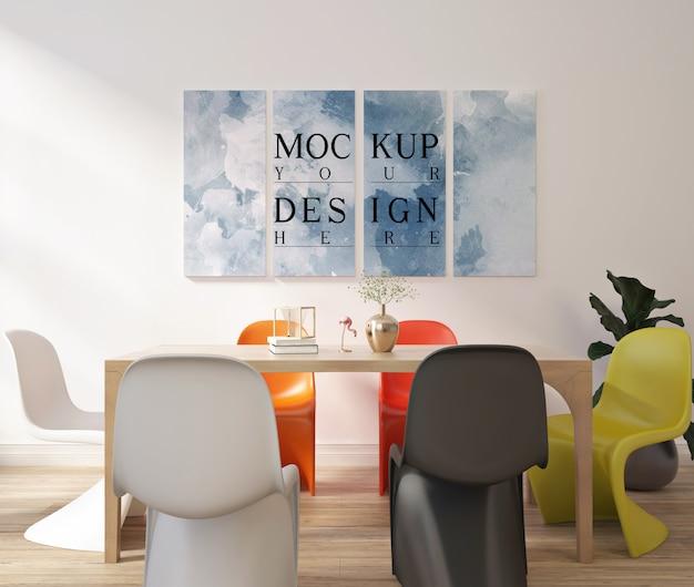 Design moderno e contemporaneo della sala da pranzo con poster con cornice mockup