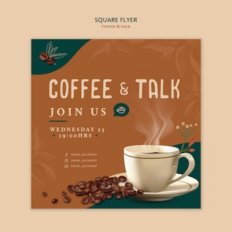 Design quadrato con volantini caffè e talk