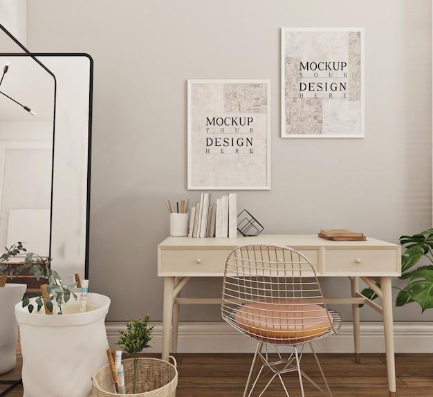 Design semplice e moderno della sala studio con cornice per poster mockup