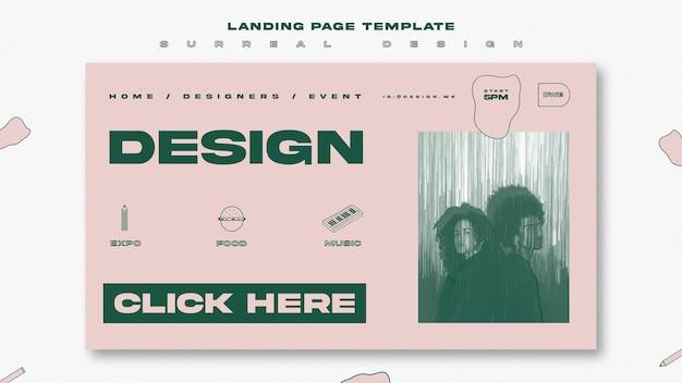 Design surreale del modello della pagina di destinazione