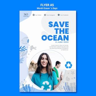 Design volantino del giorno dell'oceano mondiale