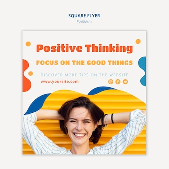 Design volantino quadrato concetto di positivismo