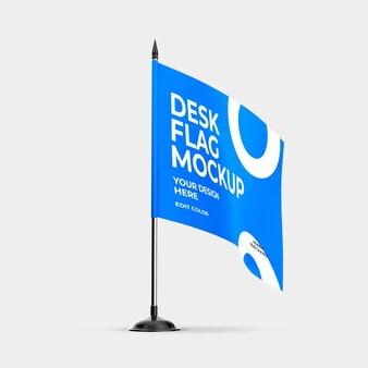 Desk flag mockup over witte kleur
