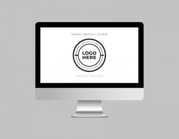 Desktop computer con mockup di design del logo