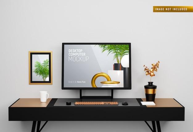 Desktop computer surface studio op het bureau vooraanzicht mockup