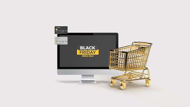 Desktop met plastic kaart met 3d-gerenderde gouden winkelwagen mockup