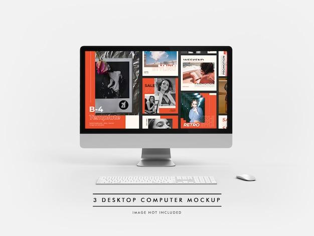 Desktopcomputer mockup en scènegenerator