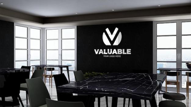 Despensa de oficina o sala de cocina para la marca de la empresa logotipo de pared mocku