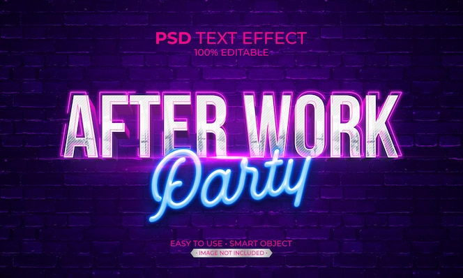 Después del efecto del texto de la fiesta de trabajo
