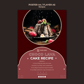 Dessert recepten poster sjabloon