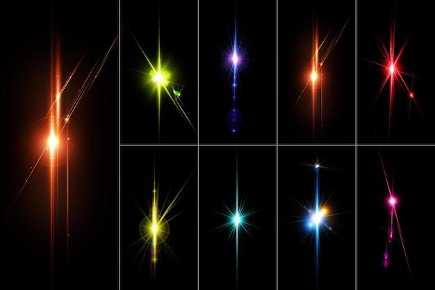 Los destellos de lentes coloridos realistas y el conjunto de luces aíslan