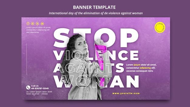 Detener la violencia contra la mujer banner con foto