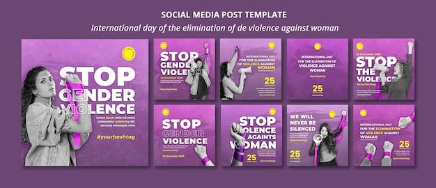 Detener la violencia contra las mujeres publicaciones en redes sociales