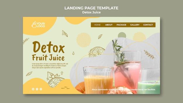 Detox juice concept bestemmingspagina sjabloon