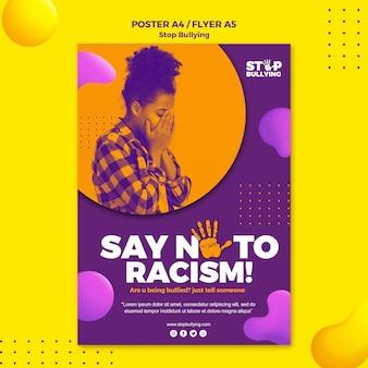 Di no al racismo plantilla de impresión de volante