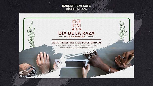 Dia de la raza horizontale banner sjabloon