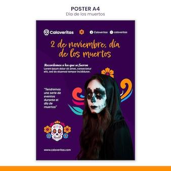 Dia de los muertos-postersjabloon Gratis Psd
