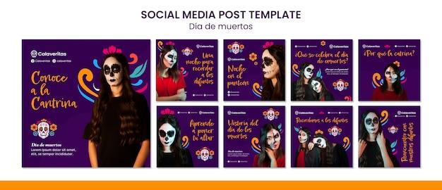 Dia de los muertos social media postsjabloon