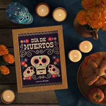 Dia de muertos mock-up omringd door kaarsen