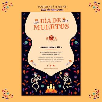Dia de muertos poster afdruksjabloon