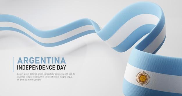 Día de la independencia de argentina ondeando plantilla de banner de bandera de cinta