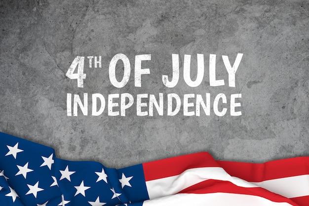 Día de la independencia con el fondo de la bandera de américa