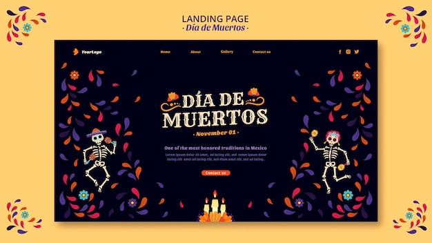 Dia de muertos esqueletos y página de inicio de confeti