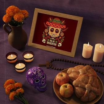 Día de muertos maquetas mexicanas tradicionales con