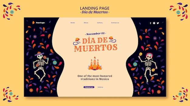 Dia de muertos mexico cultura landing page