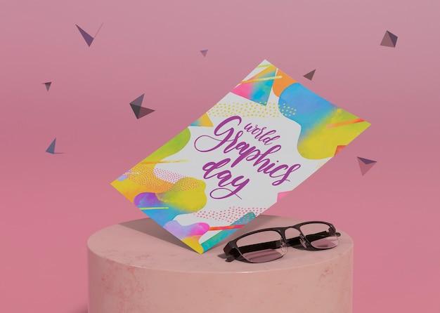 Día mundial de los gráficos con efecto memphis y gafas