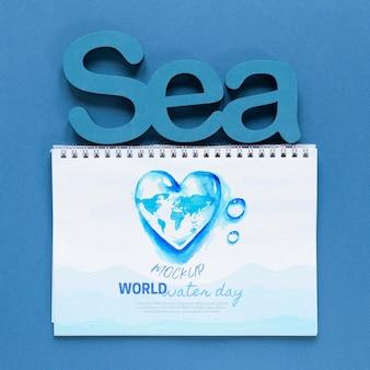 Día del océano salvar la maqueta del mundo submarino