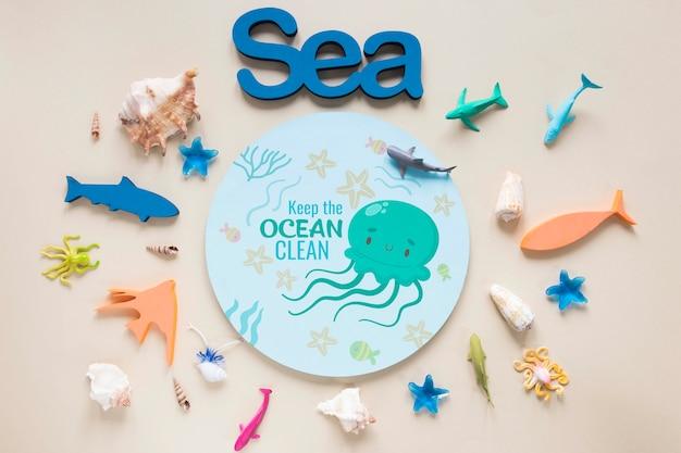 Día del océano variedad de especies de vida submarina