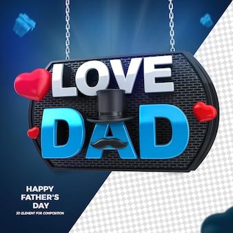 Día del padre amor papá 3d render aislado