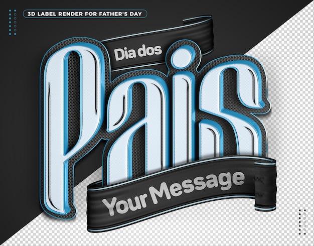 Día del padre del elemento 3d en brasileño para la composición