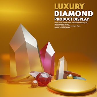 Diamante de lujo de oro de render 3d para la colocación de la presentación del producto
