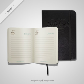 Diario aperto e notebook