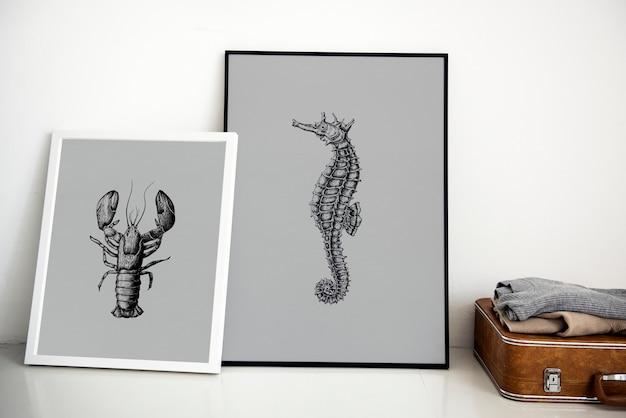 Dibujo a mano cuadro de caballito de mar en marco de foto