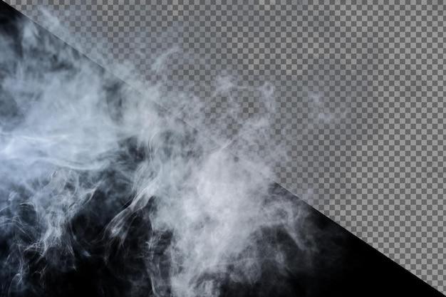 Dichte pluizige rookwolken van witte rook en mist op zwarte achtergrond, abstracte rookwolken, geïsoleerd. alle bewegingen wazig, intentie onscherp en hoog contrast bij lage belichting