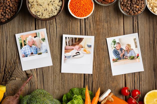 Dieetideeën groenten en kruiden met familiefoto's