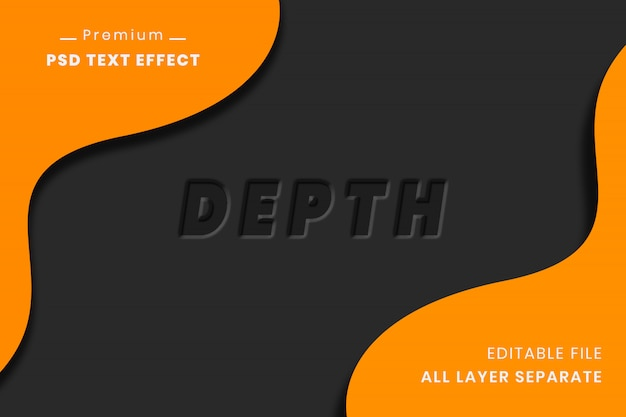 Diepte 3d teksteffect op zwarte achtergrond