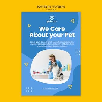 Dierenarts die het sjabloon van de hond veterinaire poster voedt