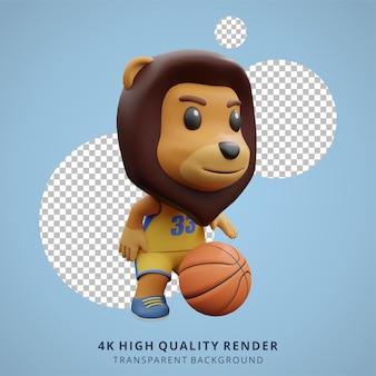 Dierlijke leeuwenwelp die basketbal speelt 3d schattige karakterillustratie