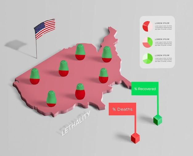 Difusión del mapa de coronavirus recuperado y muertes