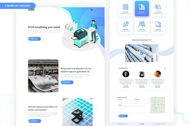 Digitaal afdrukken website pagina-ontwerp