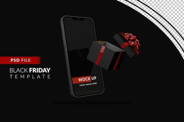 Digitaal black friday-concept met donkere iphone en geschenkdoos