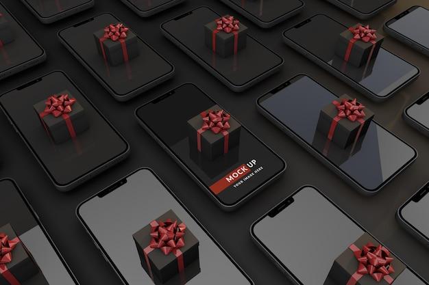 Digitaal black friday-concept met smartphone en geschenkdoos