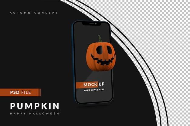 Digitaal halloween-displaymodelconcept met smartphone en enge pompoen